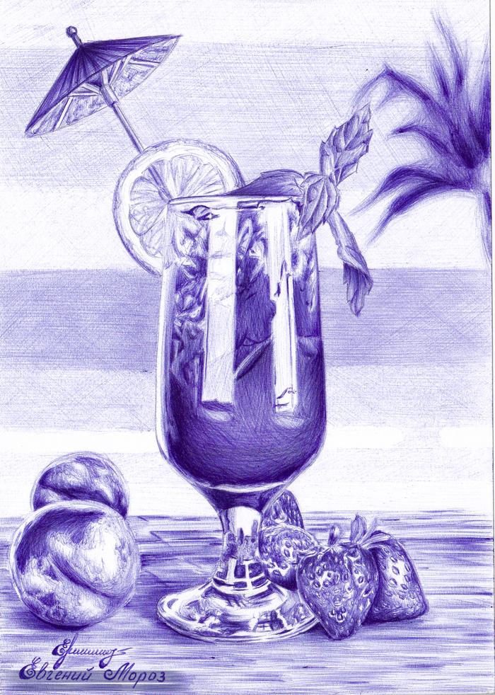 Фруктовый коктейль Рисунок, Шариковая ручка, Коктейль, Графика, Творчество, Арт, Рисунок ручкой, Натюрморт