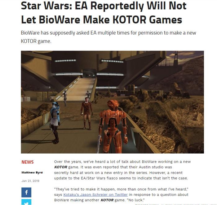 Ea games не позволит Bioware делать игры во вселенной KotOR (Knights of the Old Republic) Star Wars, Star wars: the old republic, Kotor, Новости, Игры, Bioware, Ea games