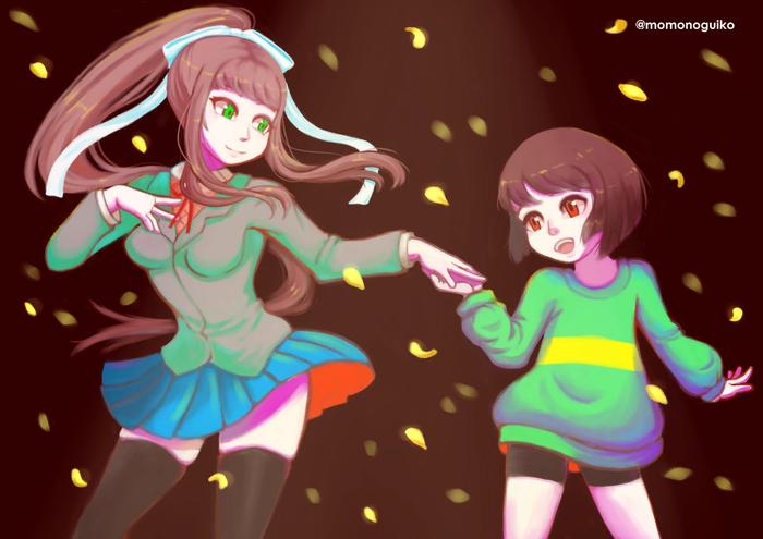 Monika has made a new friend Doki doki literature Club, Monika, Crossover, Undertale, Chara, Anime Art, Визуальная новелла, Игры