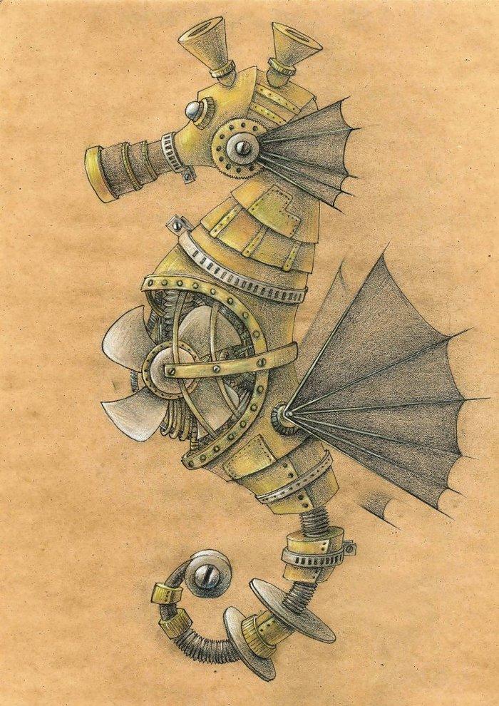 Морские животные в стиле стимпанк. Рисунок, Графика, Стимпанк, Механизм, Животные, Арт, Длиннопост
