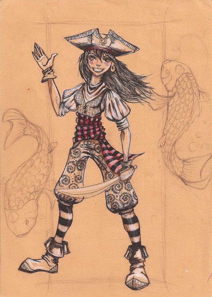 Пират и хз Рисунок, Арт, Рисунок карандашом, Длиннопост, Портрет, Автопортрет, Аниме, Anime Original, Пираты