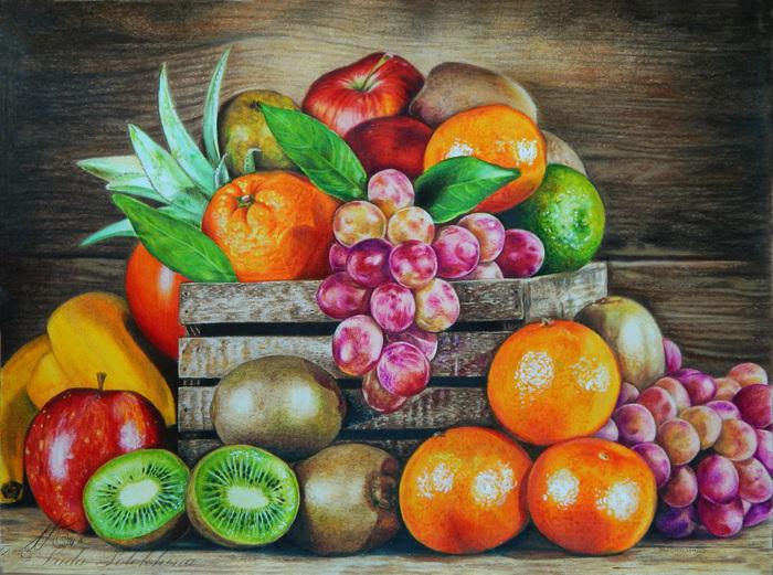 """Рисунок цветными карандашами. """"Фруктово-ягодное"""" Рисунок, Фрукты, Ягода, Цветные карандаши, Виноград, Мандарины, Натюрморт, Еда"""