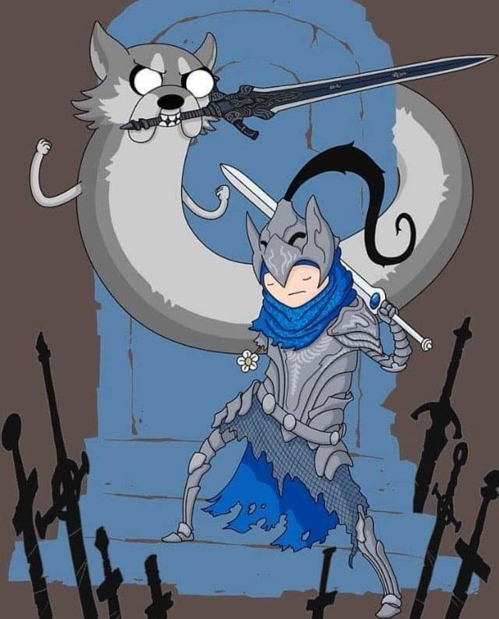 Время унижений Dark Souls, Sif the Wolf, Knight Artorias, Adventure Time, Crossover
