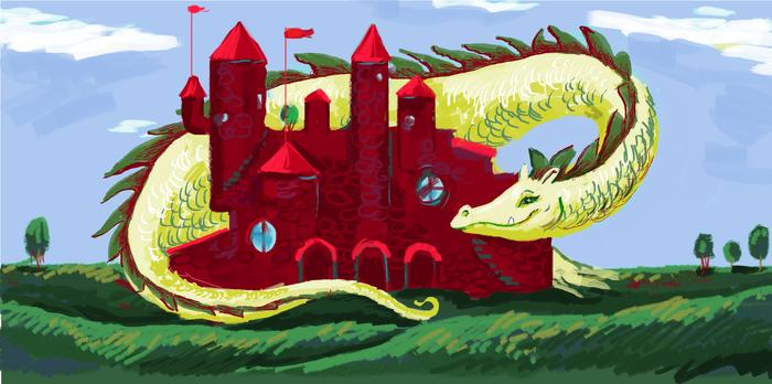 Пэйнт: так ли он ужасен. Рисунок, Дракон, Длиннопост, Цифровой рисунок, Paint, Замок, Существа
