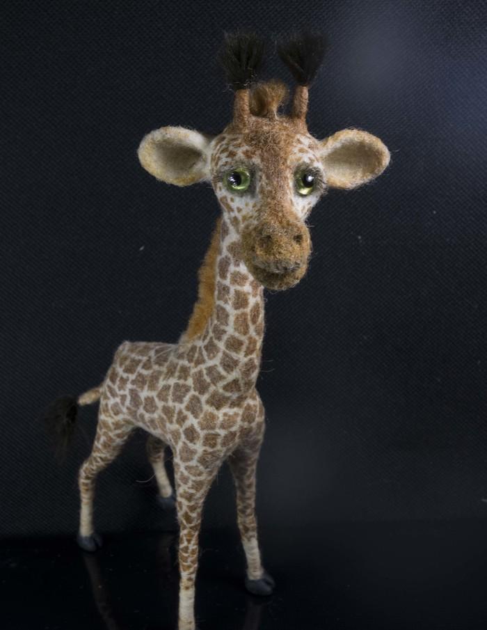 Валяный жираф Рукоделие, Своими руками, Ручная работа, Сухое валяние, Игрушка из шерсти, Длиннопост, Жираф
