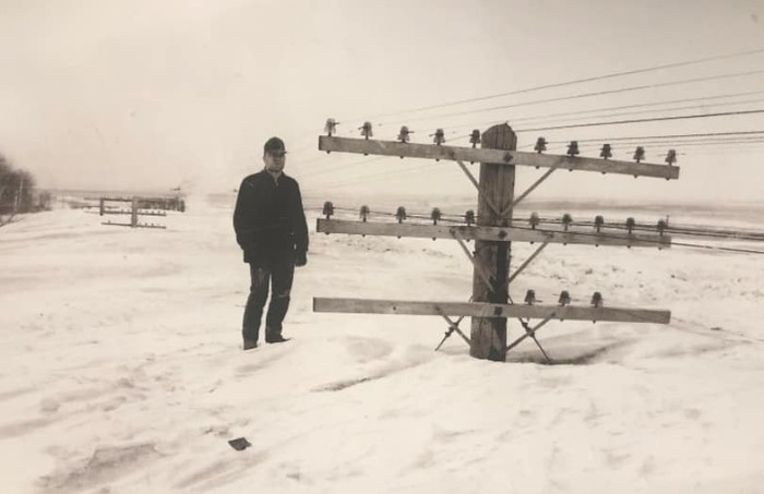 Падал снег North Dakota Blizzard 1966 Снег, Столб, Дакота, Старое фото