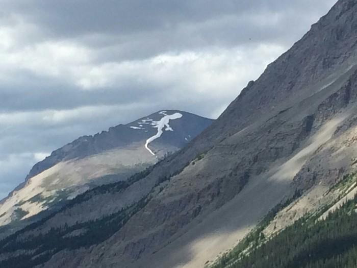Снег на вершине горы похож на ящерицу