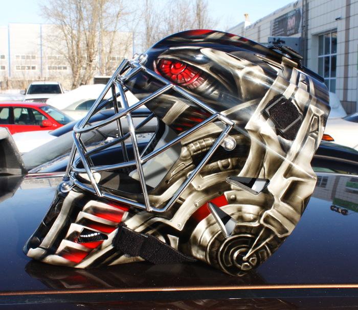 """Еще технотемы на шлем. Хоккейный шлем голкипера,ХК """"Трактор"""" Аэрография, Хк трактор, Кхл, Челябинск, Тюмень, Длиннопост"""