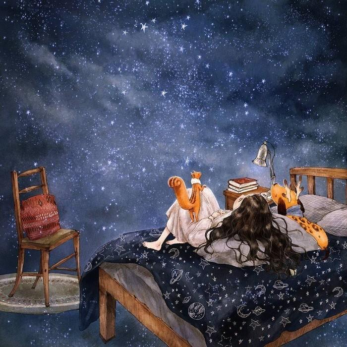 Работы художницы  Aeppol Арт, Рисунок, Иллюстрации, Девочка, Милота, Длиннопост