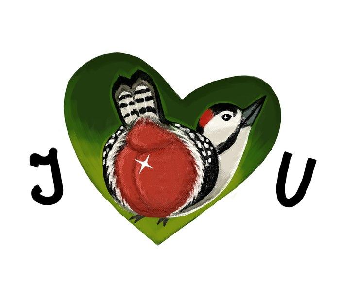Валентинка от дятлов Дятел, Большой пестрый дятел, Валентинка, День святого Валентина, Поздравление
