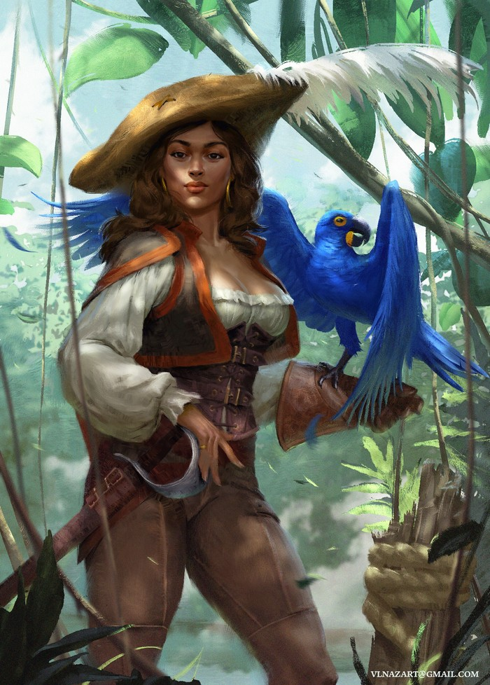Пиратка Арт, Рисунок, Девушки, Пиратка, Попугай