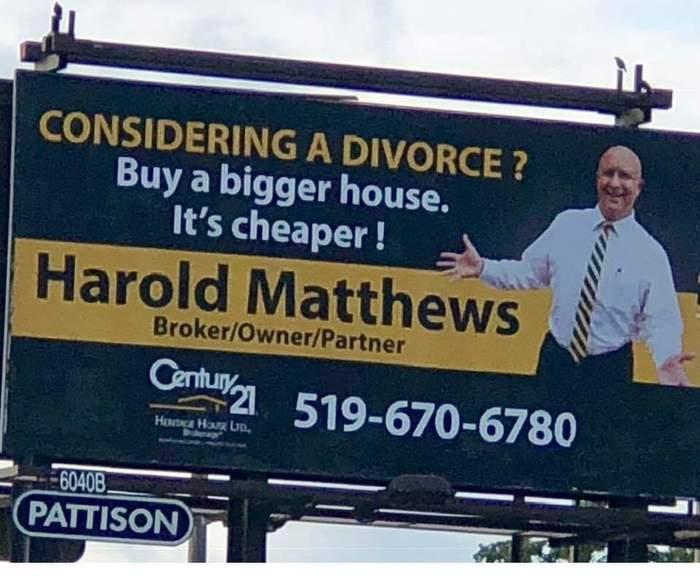 Гарольда заставили убрать эту рекламу, но что-то в этом есть... Дом, Жилье, Развод, Дорого, Билборд