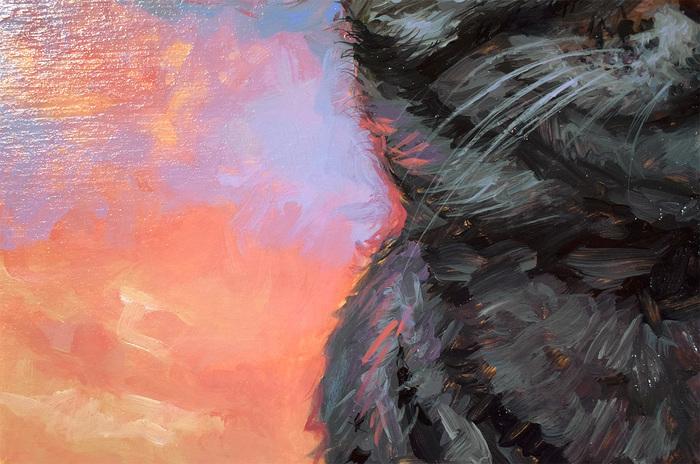 На закате Кот, Акрил, Живопись, Картина, Анималистика, Этюд, Длиннопост, Животные, Закат
