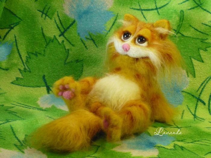 Рыжий кот Кот, Игрушка из шерсти, Авторская игрушка, Валяние, Подарок, Оригинально, Длиннопост