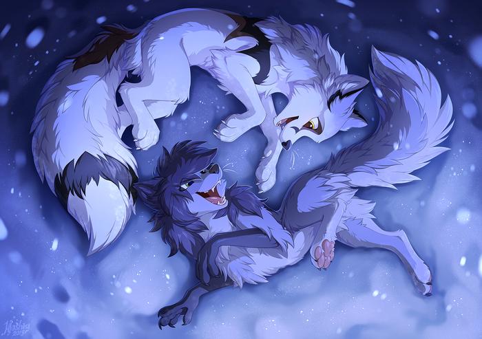 В снегу Furry Art, Фурри, Hioshiru, Furry feral