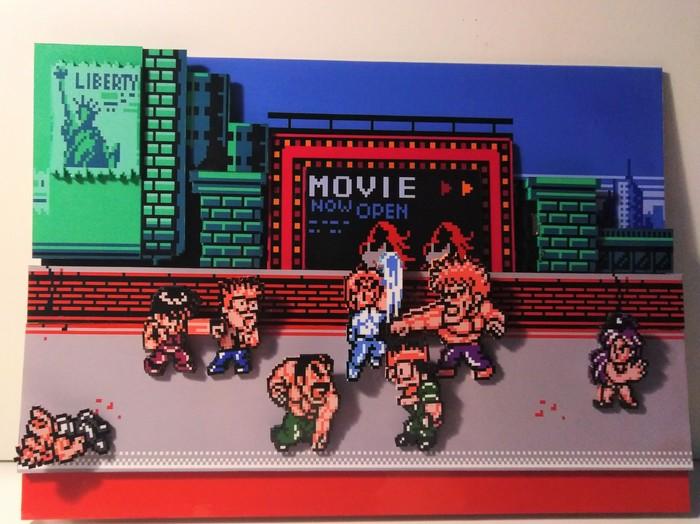 Диорама по игре Mighty Final Fight.Большая разборка в маленьком Metro City. Mighty final fight, Диорама, Dendy, Ретро-Игры, Pixel Art, Длиннопост