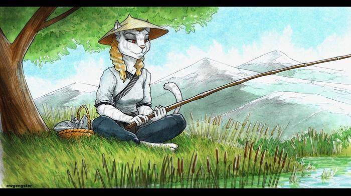 Каджит на рыбалке Игры, The Elder Scrolls, The Elder Scrolls Online, Арт, Каджит, Рисунок, Ewgengster
