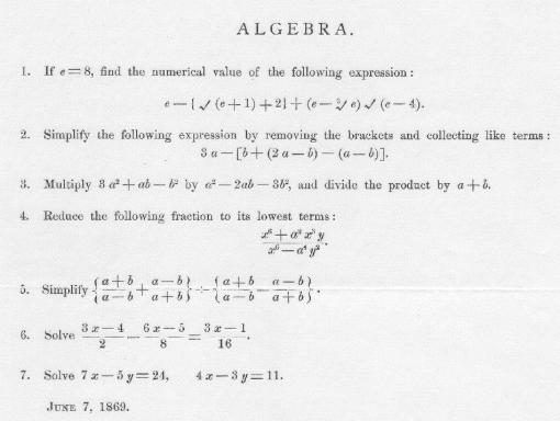 Вот таким был вступительный экзамен по алгебре в MIT 7 июня 1869 года. Алгебра, Математика, Экзамен, Mit