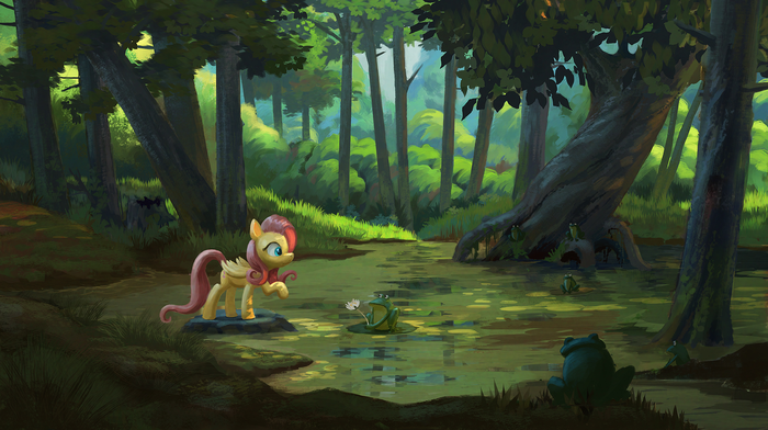 Swamp My Little Pony, Fluttershy, Лягушки, Болото, Jotun22
