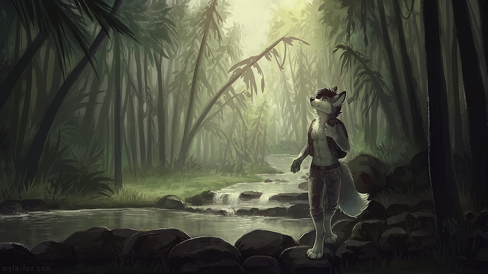 Shimmering Wilderness Фурри, Антро, Furry Art, Furry Canine, Furry wolf, Тропики, Mylafox