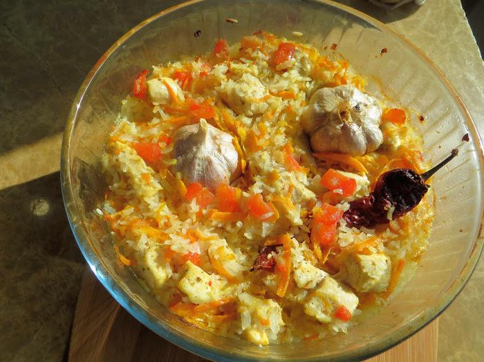 """""""Плов"""" без казана! Курица с рисом в духовке Еда, Курица, Рецепт, Другая кухня, Видео рецепт, Приготовление, Видео, Длиннопост, Плов, Рис"""