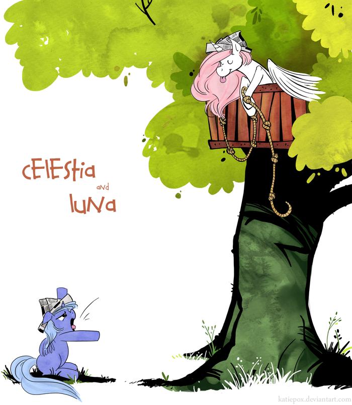 Celestia and Luna My Little Pony, Кельвин и Хоббс, MLP Crossover, Princess Celestia, Princess Luna, Ponyart