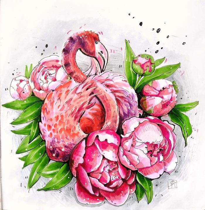 Фламинго Фламинго, Розовый фламинго, Птицы, Рисунок, Спиртовые маркеры, Скетч, Скетчбук, Маркер