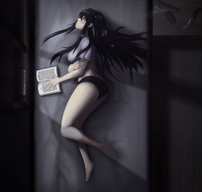Quiet contemplations Doki Doki Literature Club, Yuri DDLC, Anime Art, Визуальная новелла