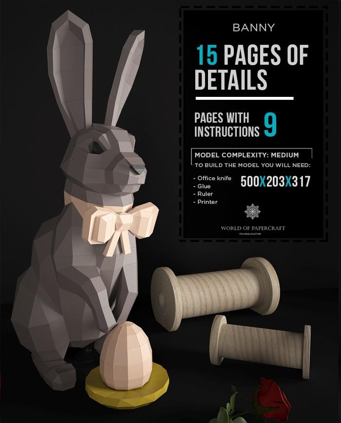 Пасхальный кролик. Papercraft, Low poly, Pepakura, Длиннопост