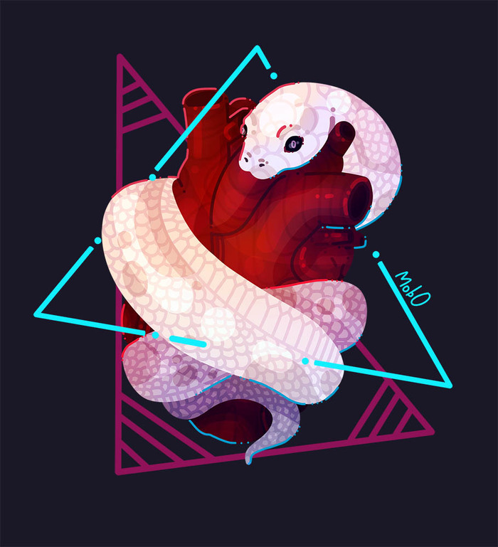 Белая змейка - Спидпейнт Speed painting, Рисование, Mob0, Змея, Сердце, Рисунок, Видео, Цифровой рисунок, Пресмыкающиеся