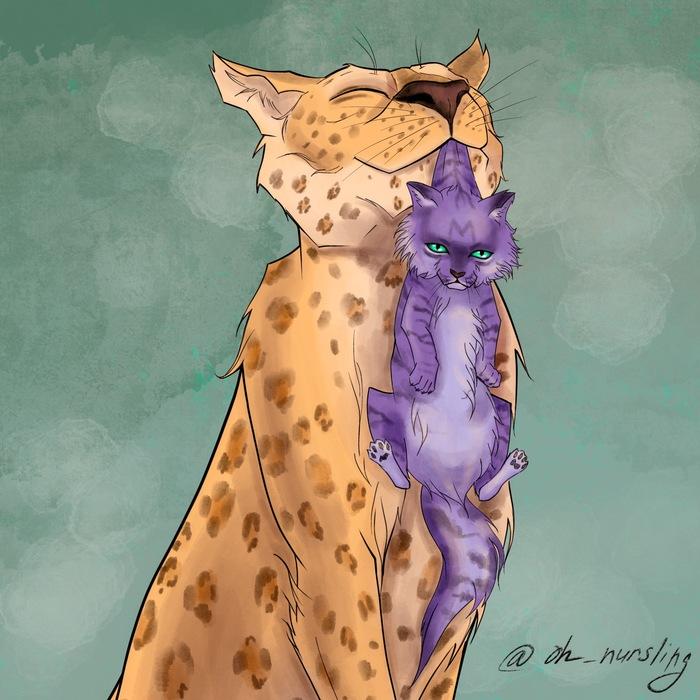 Большие кошки Цифровой рисунок, Кот, Большие кошки, Рисунок, Животные