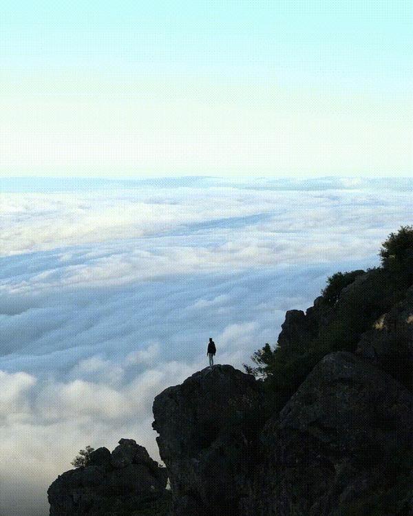 """""""Облака в горах"""" Гифка, Фотография, Облака, Горы, США, Кинематограф, Reddit"""