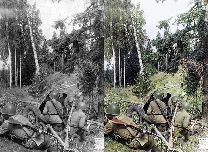 Моя колоризация Колоризация, Великая Отечественная война, Артиллерия, Длиннопост