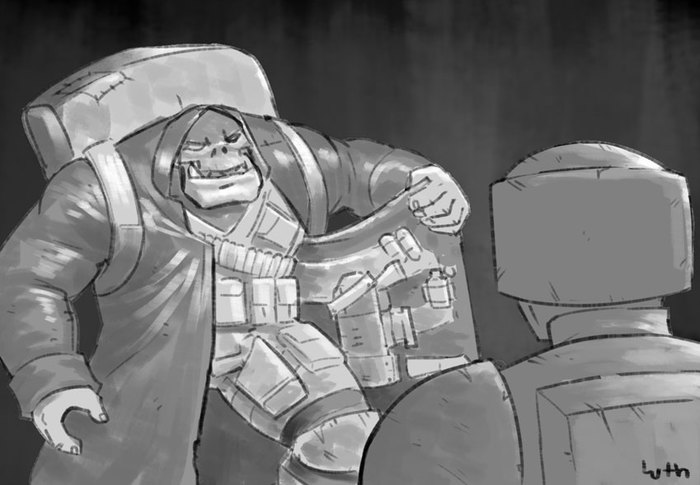 Орк в плаще, продающий дакку Warhammer 40k, Орки, Resident Evil 4, Lutherniel, Crossover