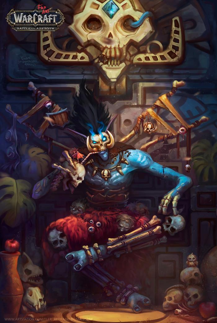 Бвон'самди Фан-Арт, Арт, Warcraft, World of Warcraft, Troll-a, Игры, Game Art, Рисунок