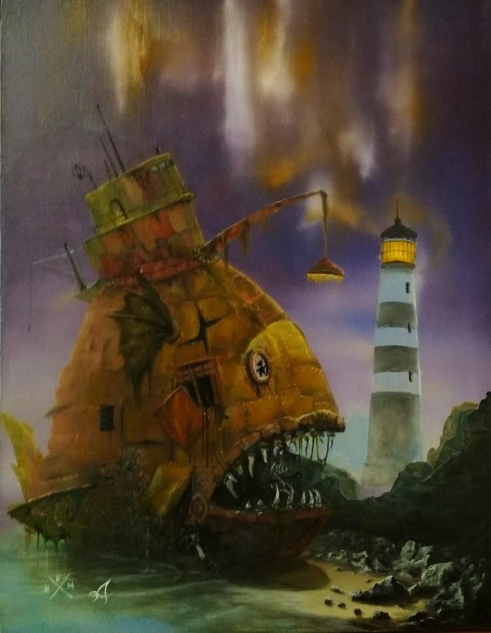 Работа продолжается Картина маслом, Пейзаж, Заброшенное место, Тэц, Стимпанк, Маяк, Рыба, Железная Дорога