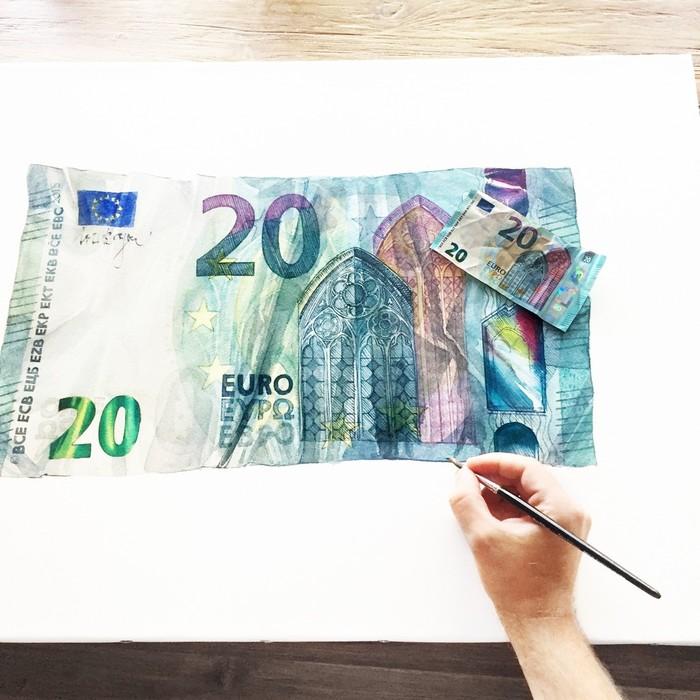 Рисуем 20 ЕВРО Акварель, Деньги, Евро, Рисунок, Европа, Гифка, Длиннопост, Купюра, Гиперреализм, Процесс рисования