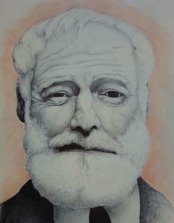 Хемингуэй Графика, Рисунок ручкой, Эрнест Хемингуэй, Писатель, Рисунок, Портрет