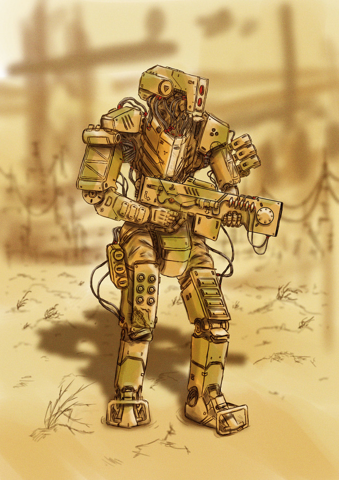 Учусь рисовать №7 Концепт-Арт, Робот, Рисунок, Творчество, Графический планшет, Меха, Железо, Длиннопост