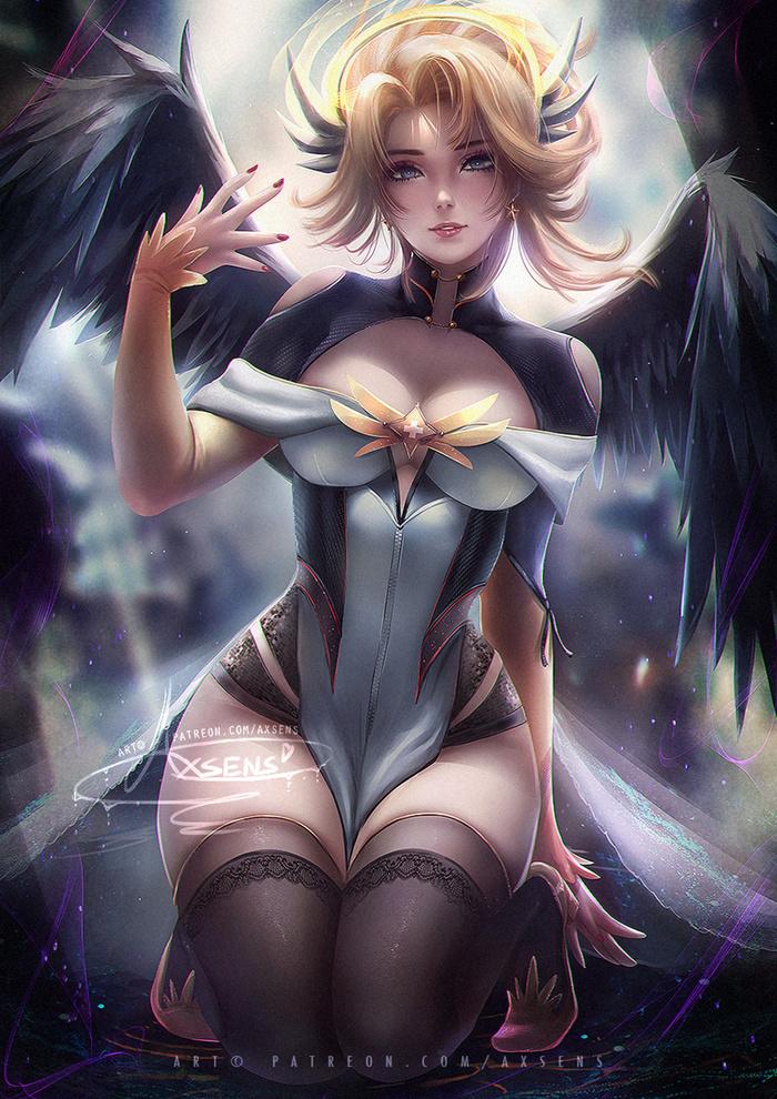 Magical Mercy Art Арт, Axsens, Overwatch, Mercy, Девушки