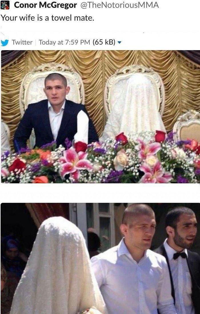 Конор - Хабибу: Твоя жена - полотенце, приятель. Хабиб Нурмагомедов, Конор МакГрегор, Twitter, Полотенце, Скриншот, Жена, Паранджа