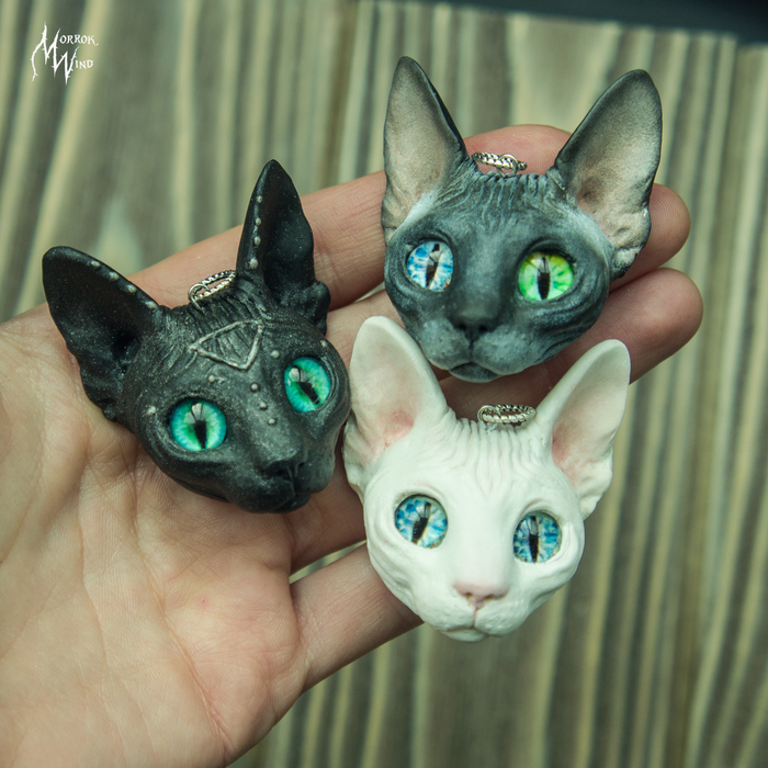 Котики! Кулоны из полимерной глины Сфинкс, Кулон, Рукоделие без процесса, Своими руками, Полимерная глина, Кот, Длиннопост