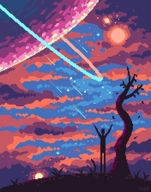 Пиксель арт Космос, Пиксель, Арт, Pixel Art, Pixels, Наркотики, Пейзаж, Небо