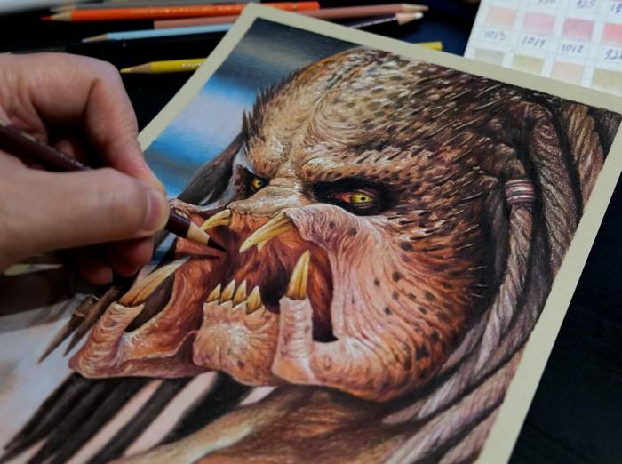 Рисунок цветными карандашами Рисунок, Цветные карандаши, Рисунок карандашом, Арт, Хищник, Длиннопост, Фильмы