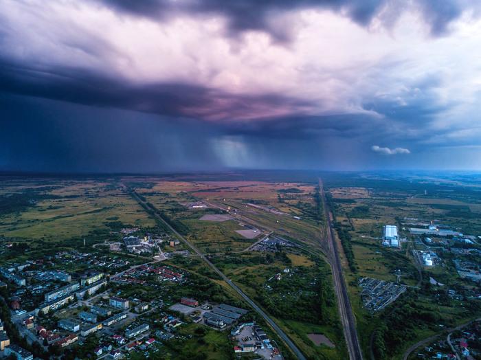 Ливень с высоты. Начинающий фотограф, Калининградская область, Квадрокоптер, Дождь