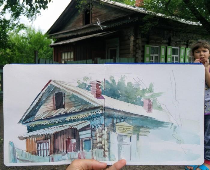 Летние зарисовки акварелью перед дождём. Скетч, Акварель, Дом, Рисунок, Графика, Творчество, Арт, Зарисовка