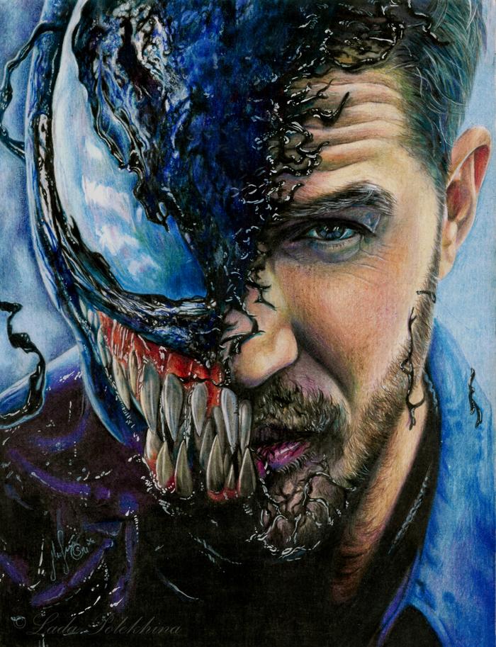 """Рисунок цветными карандашами. """"We are Venom"""" Рисунок, Веном, Цветные карандаши, Знаменитости, Портрет, Фильмы, Том Харди, Актеры"""