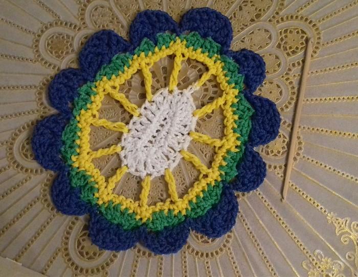 Салфетка и цветок. Вязание крючком, Вязание, Длиннопост