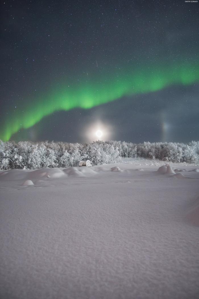 Северное сияние и лунное гало над Мурманском Россия, Север, Мурманск, Гало, Северное сияние, Природа, Зима, Снег