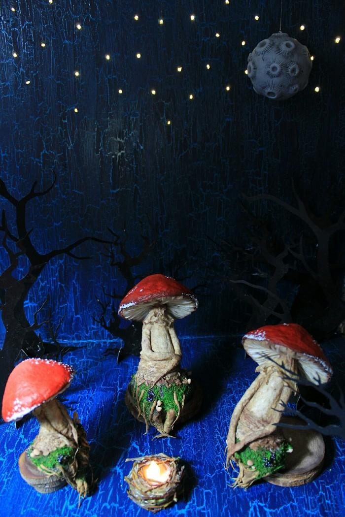 Завеса приоткрылась. Все то, что скрывает лес обретает свой лик. Грибы, Магические грибы, Мухомор, Вата, Cotton, Своими руками, Длиннопост